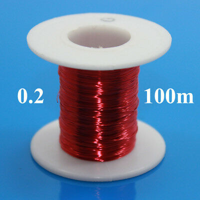100m Magnet Wire 0.2mm Enameled Copper Wire Round Magnetic Coil Winding Red
