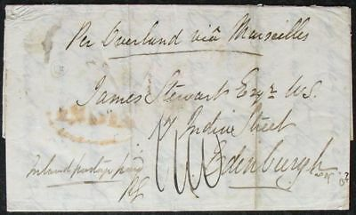 s1910) Pakistan Feldpost - Second Sikh War 1849 cover from Peshawar to Edinburgh