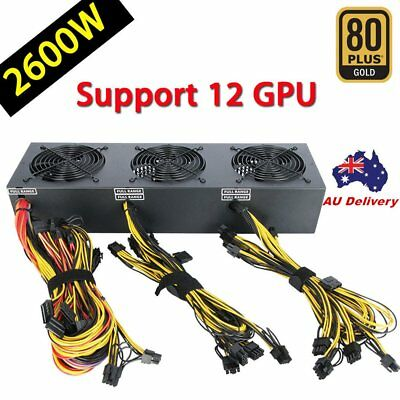 2600W Mining Power Supply 12 GPU For Rig Ethereum Bitcoin Miner 80 Plus Gold A@