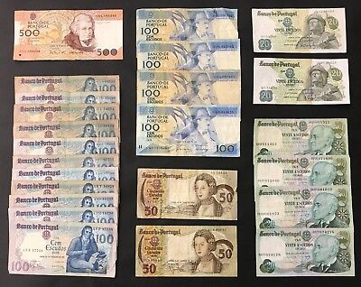 24 Mixed Portugal Banknote Collection - Europe - Bulk Lot. (1432)