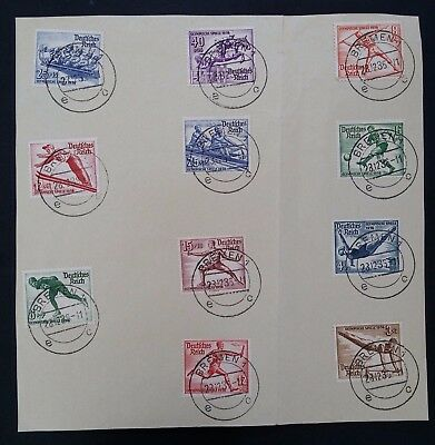 SCARCE 1936 Germany full set of 11 Berlin Olympic Games stamps on piece Bremen