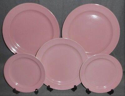 5 pc Set Taylor Smith & Taylor PINK LURAY PATTERN Luncheon/Salad/B&B Plates