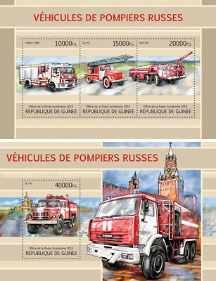 Russia Fire Engines Special Transport Firefighters Vehicles Guinea MNH stamp set