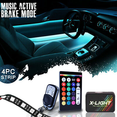 4pcs 18-Color LED Glow Strips Interior Car Inside Under Dash Foot Lighting Kit