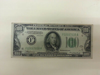 1934 One Hundred Dollar Bill US Currency Federal Reserve Note Atlanta F $100.