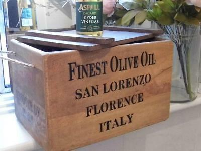 Vintage Style Wood Storage Box Crate & Lid *finest Olive Oil Italy* Rope Handles