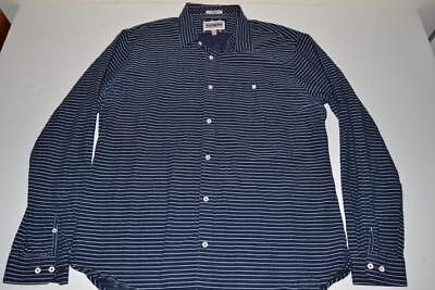 7b48105178 EXPRESS FITTED NAVY Blue White Striped Pocket Shirt Mens Size Xl ...