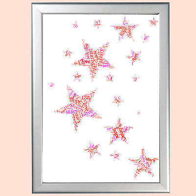 Personalised Word Art Stars Christening Gift For Baby Her Him Present Unique