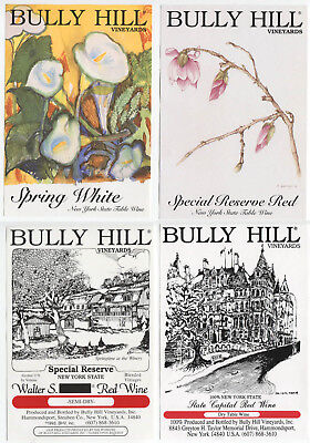 4 different, VERY NICE unused wine labels Bully Hill, N.Y., USA (4)