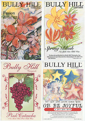 4 different, VERY NICE unused wine labels Bully Hill, N.Y., USA (5)