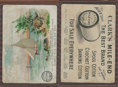 Victorian Card, 1890's, Clarks Thread, Find Hidden Objects, Sail Boat, Lake