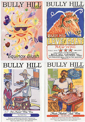 4 different, VERY NICE unused wine labels Bully Hill, N.Y., USA (6)