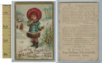 Victorian Card, 1890's, Fleming Bros., Dr. McLane's Pills, Hoopes, Minerva, OH
