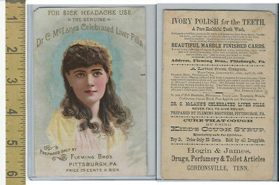 Victorian Card, 1890's, Fleming Bros., Dr. McLane's Pills, Hogin, Gordonville TN