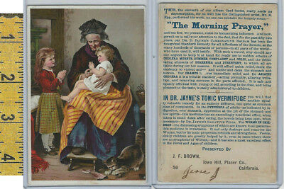 Victorian Card, 1890's, Dr Jayne, Brown, Iowa Hill CA, Morning Prayer