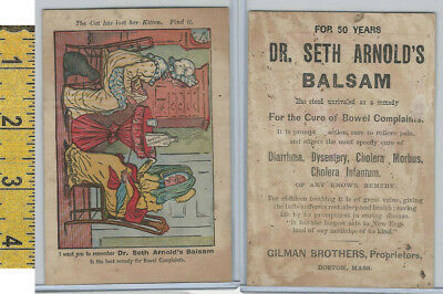 Victorian Card, 1890's, Dr Seth Arnolds Balsam, Gilman,Boston, Cat Lost Kitten