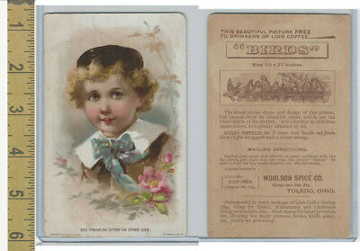 Victorian Card, 1890's, Lion Coffee, Child With Brown Hat & Blue Tie