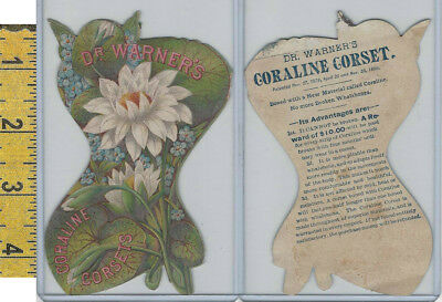Victorian Card, 1890's, Dr Warners Corset, Flowers, Die Cut Shape