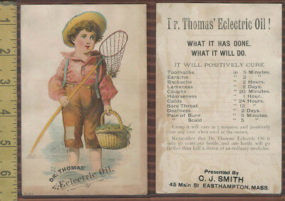 Victorian Card, 1890's, Thomas, Dr Electric Oil, Easthampton,  Boy With Net
