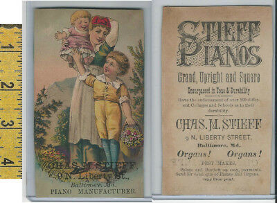 Victorian Card, 1890's, Stieff Pianos, Baltimore, Mother Holding Girl