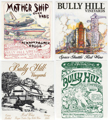 4 different, VERY NICE unused wine labels Bully Hill, N.Y., USA (9)