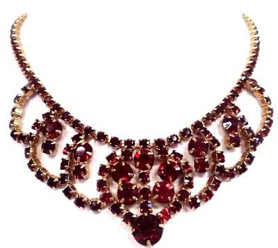 "Stunning Vintage Estate Signed G Red Rhinestone Gold Tone 15"" Necklace!!! G6625R"