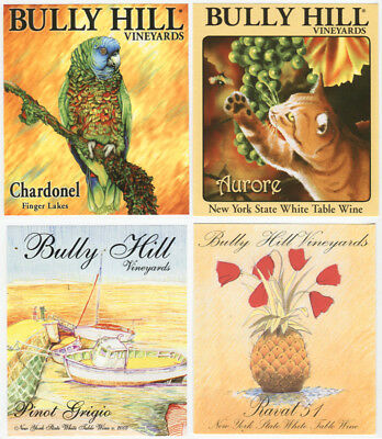 4 different, VERY NICE unused wine labels Bully Hill, N.Y., USA (11)