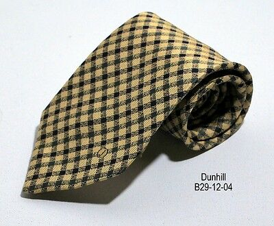 Dunhill Mens Tie in Smooth Patterned Silk  Checks Made in England