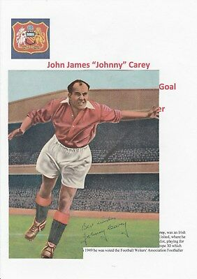 Johnny Carey Manchester Utd 1937-1953 Rare Original Hand Signed Annual Cutting