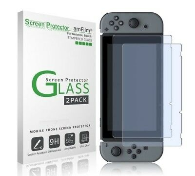 Nintendo Switch Screen Protector Glass (2-Pack), amFilm Nintendo Switch Tempered