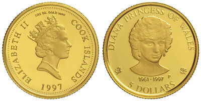 Cook Islands, 5 Dollars 1997, Lady Diana, Gold