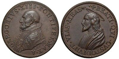 M- Rome, Gregory XIII, AE Medal 1585, The Christ, M812