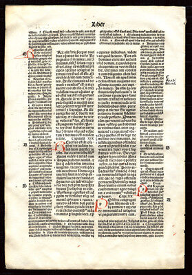 Incunable Bible Leaf 1497 Old Testament 2nd Chronicles HAnd-Colored Letters