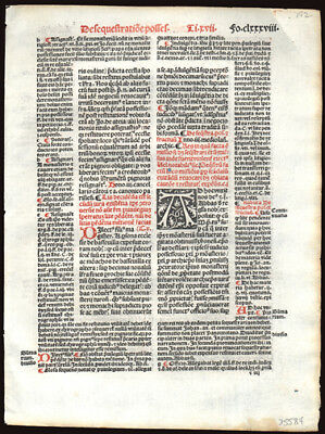 The Decretales of Pope Gregory IX 1505 Early Printing Leaf  Civil & Canon Law