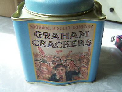 Small Blue Graham Cracker Tin Collectible Excellent Shape