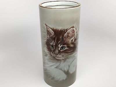 RARE VTG ENESCO Porcelain Cylinder Shaped Vase - Hand Painted KITTEN-Beautiful!