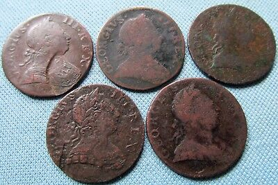 Lot 5 1700s King George III British US Colonial Copper Halfpenny Historic Coins