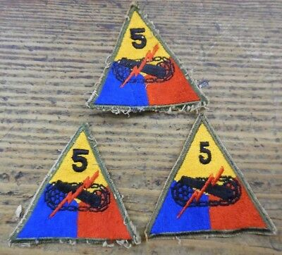 WWII US Army 5TH Fifth Armored Division Lot of Three Military Patches