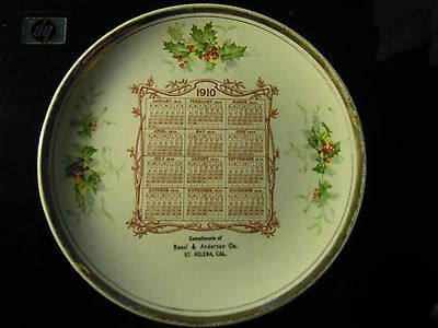 St. Helena California 1910 Calendar Plate Ressi & Anderson Co