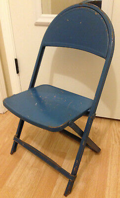 Vintage Kids Metal Folding Chair Blue Country Distressed