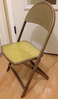 Vintage Kids Metal Folding Chair Distressed Durham Rusty Old
