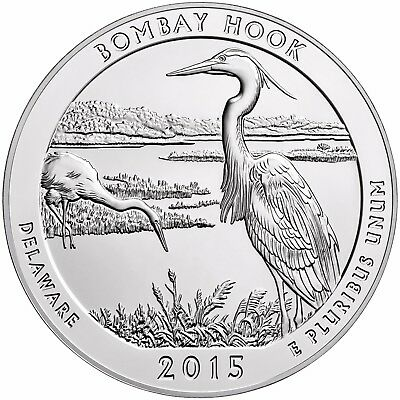 2015 BOMBAY HOOK Delaware ATB BULLION COIN 5 Oz. SILVER AMERICA THE BEAUTIFUL