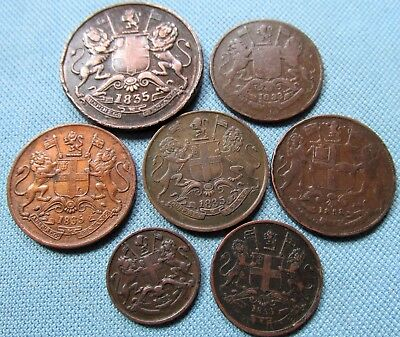 Lot of 7 1800s British East India Company Old Copper Coins Anna Pice 1833-1858