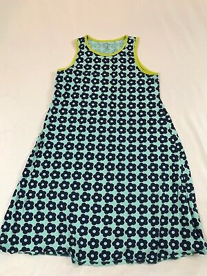 Pretty Lands End Kids Size 16 Years Blue Floral Sleeveless Dress