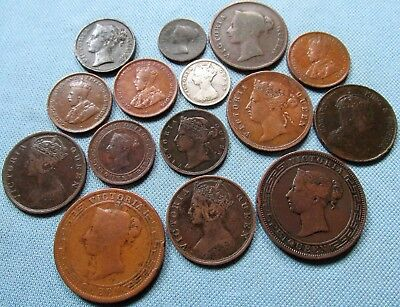 Lot of 15 British Asia Colonial Trade Old Coins 1800s 1900s Ceylon Hong Kong etc
