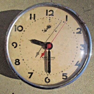 Vintage HAMMOND CHROME SYNCHRONOUS Electric Wall Clock Parts/Repair/ Art Deco