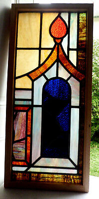Antique Vtg Church Stained Glass Window Architectural Salvage Pagoda W86