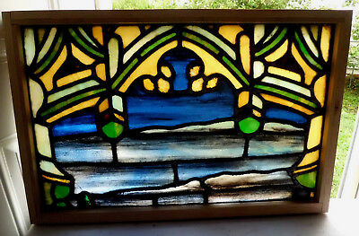 Antique Vtg Church Stained Glass Window Architectural Salvage Gothic Arch W464