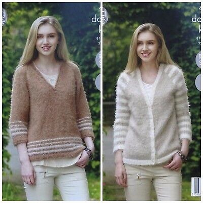 KNITTING PATTERN Ladies Easy Knit Striped Cardigan & Jumper DK King Cole 4959