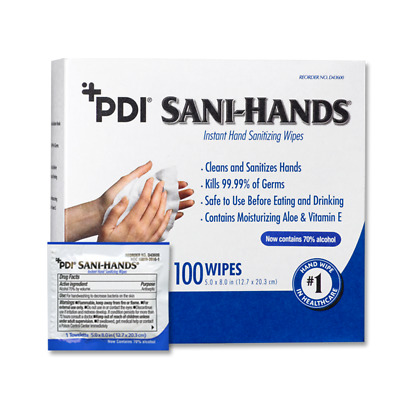 Sani Hands Alc Alcohol Gel Hand Wipes 100/box, D43600, Unscented SUPER SAVER!